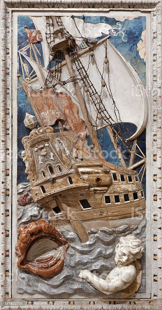 Palermo - Baroque relief of scene from prophet Jonah stock photo