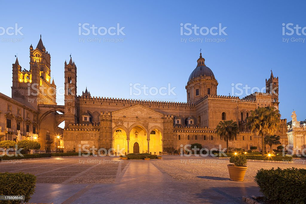 Palermo Cathedral by night, Sicily Italy stock photo