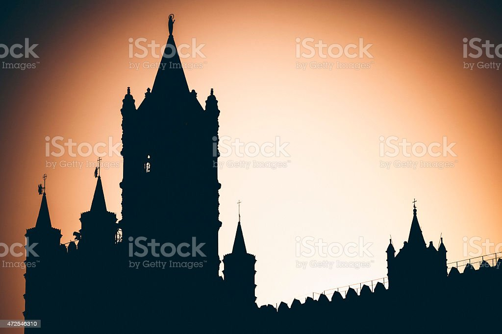 Palermo Cathedral silhouette. stock photo