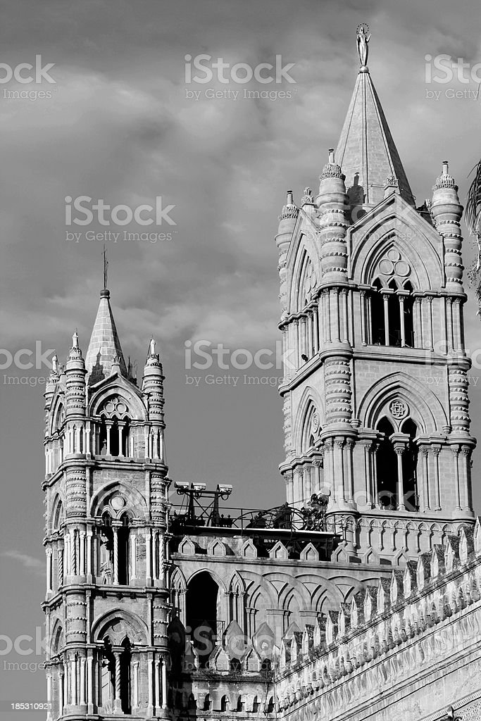 Palermo Cathedral steeples royalty-free stock photo