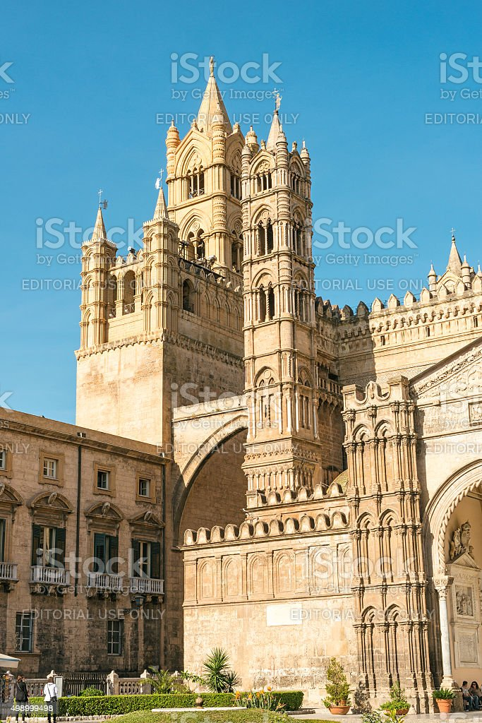 Palermo Cathedral, tower stock photo