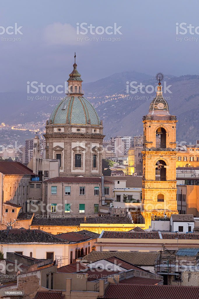 Palermo city view at dawn, Sicily, Italy royalty-free stock photo
