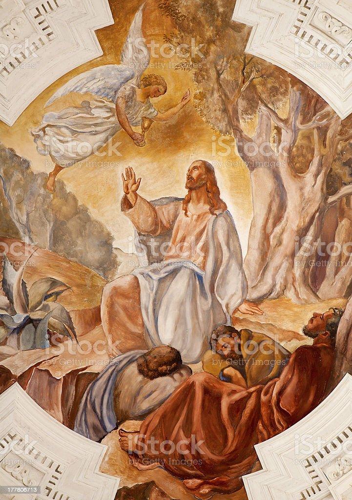 Palermo - Fresco of Jesus in Gethsemane stock photo