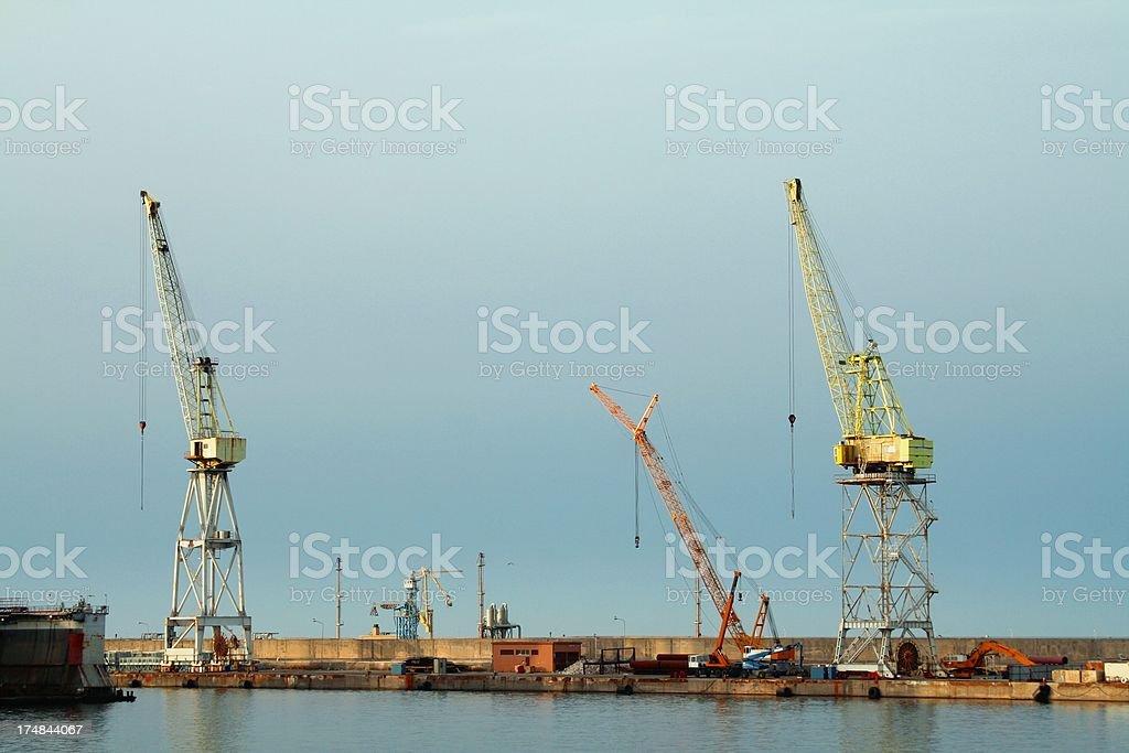 Palermo harbor cranes stock photo