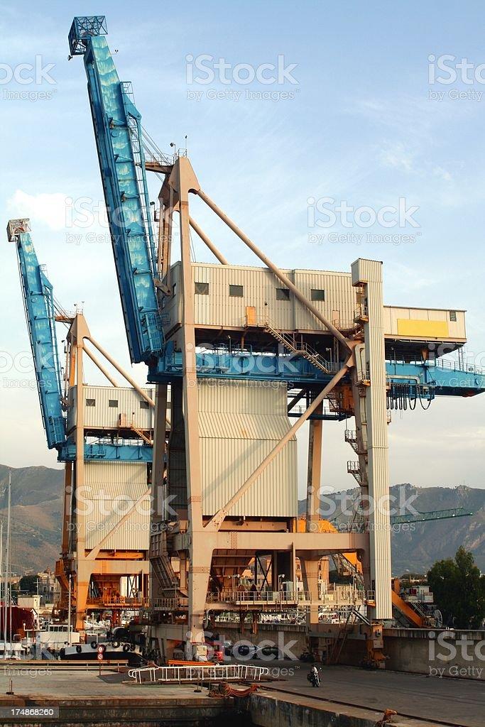 Palermo Harbor's cranes stock photo
