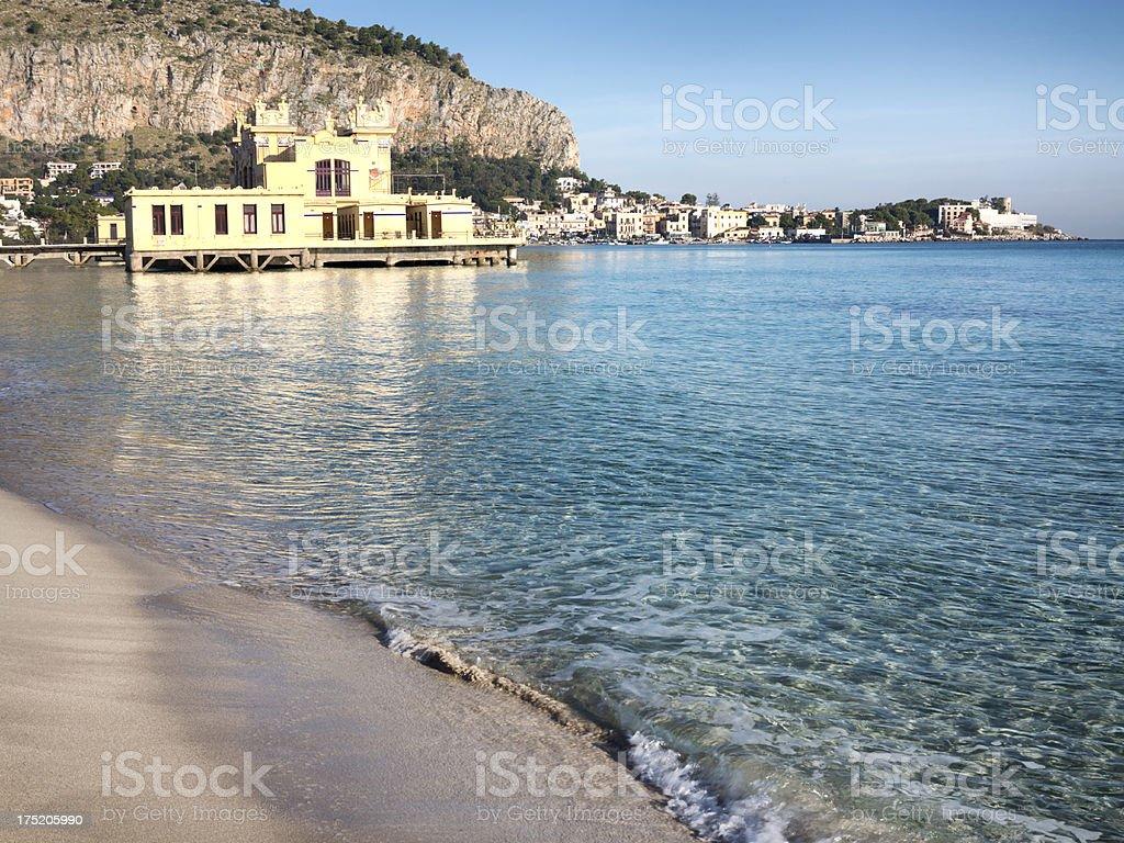 Palermo, Mondello beach stock photo