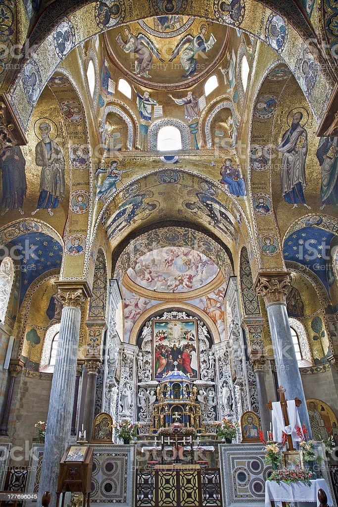 Palermo - mosaic from Church of Santa Maria dell' Ammiraglio royalty-free stock photo