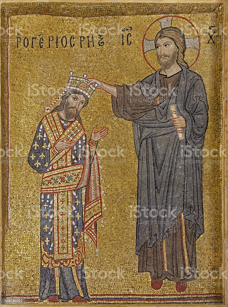 Palermo - Mosaic of king as with Christ crowned stock photo
