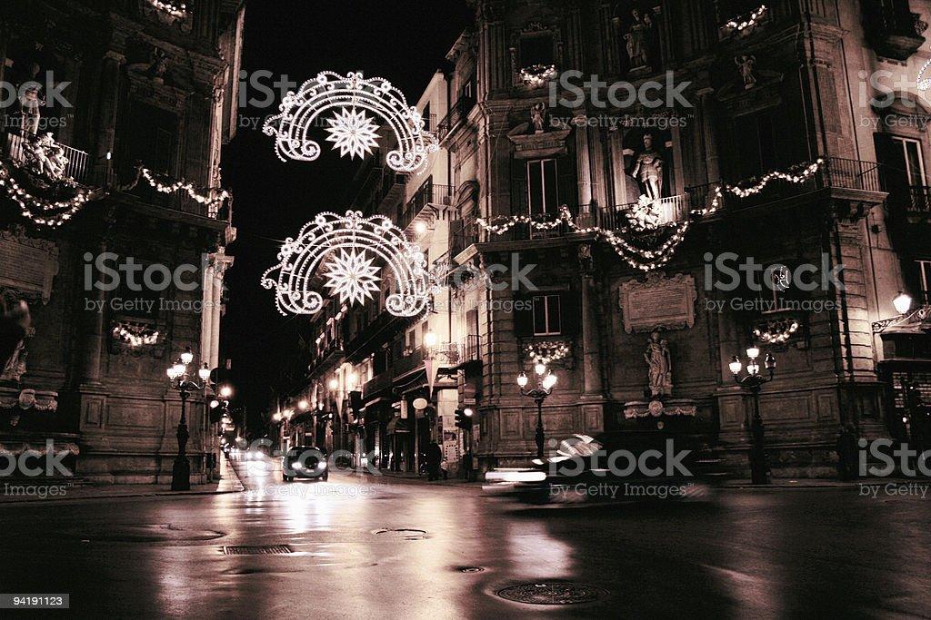 Palermo night scene in Christmas lights. stock photo