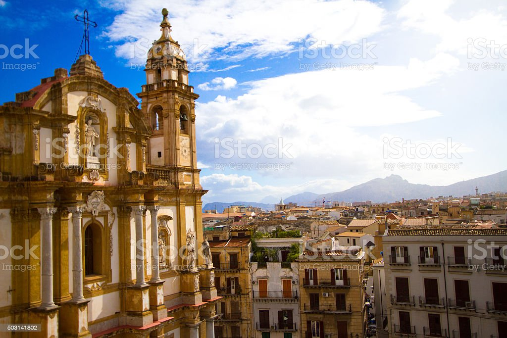 Palermo, Sicily: Panorama with Church of San Domenico in Foreground stock photo