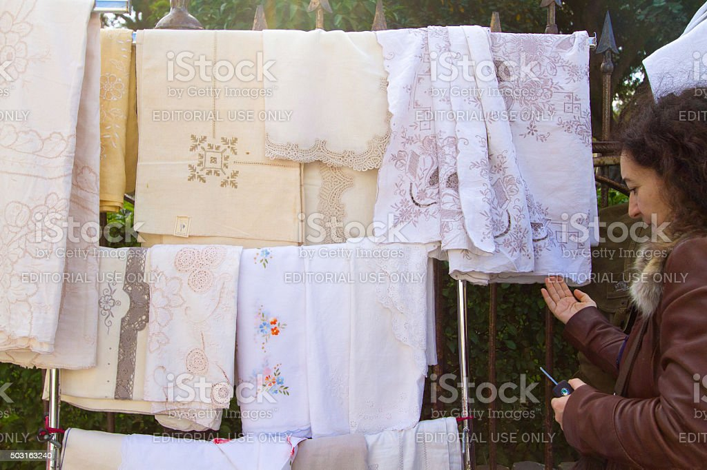Palermo, Sicily: Selling Antique Lace at Flea Market stock photo