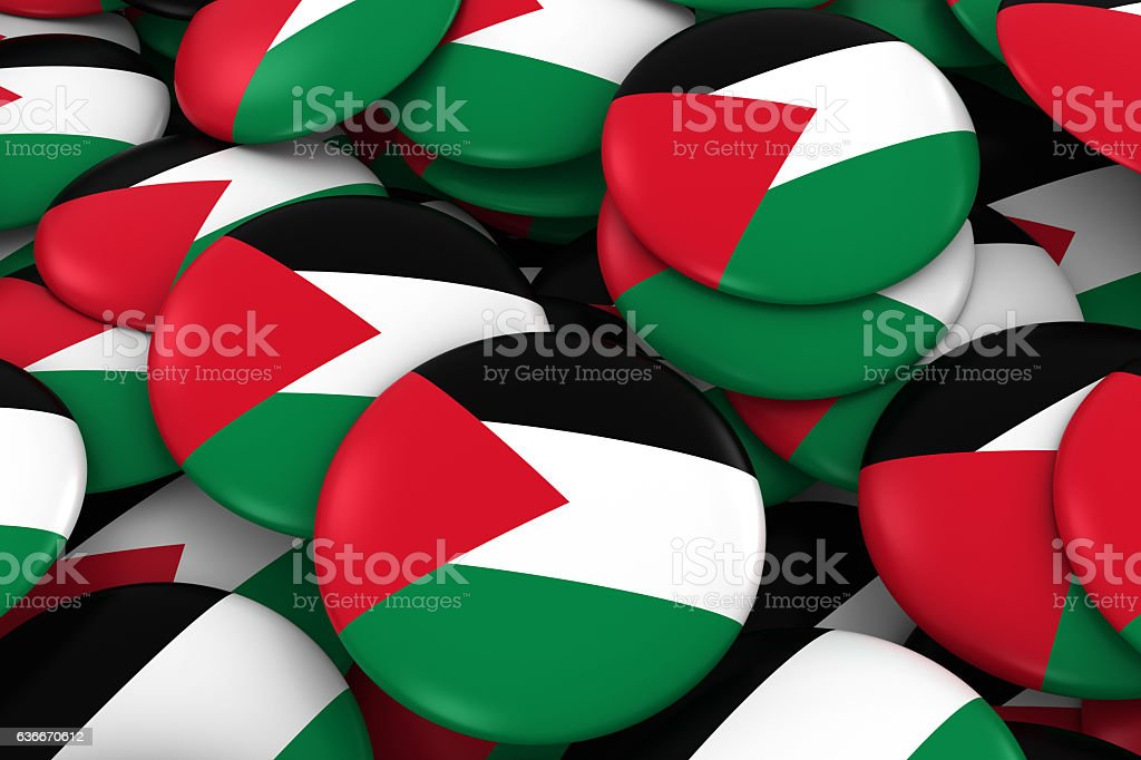 Palestine Badges Background - Pile of Palestinian Flag Buttons stock photo