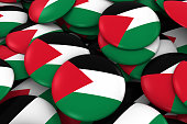 Palestine Badges Background - Pile of Palestinian Flag Buttons
