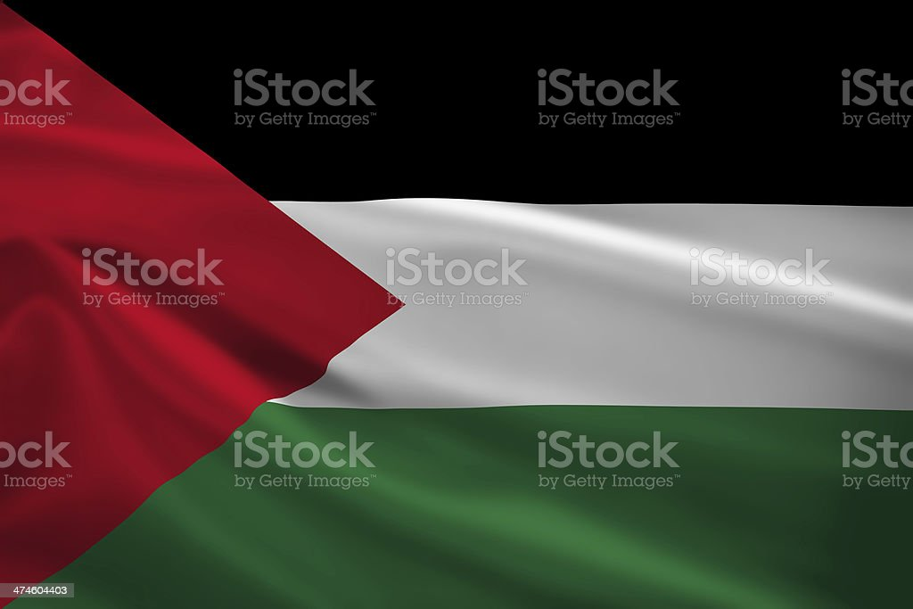 Palestine flag blowing in the wind stock photo
