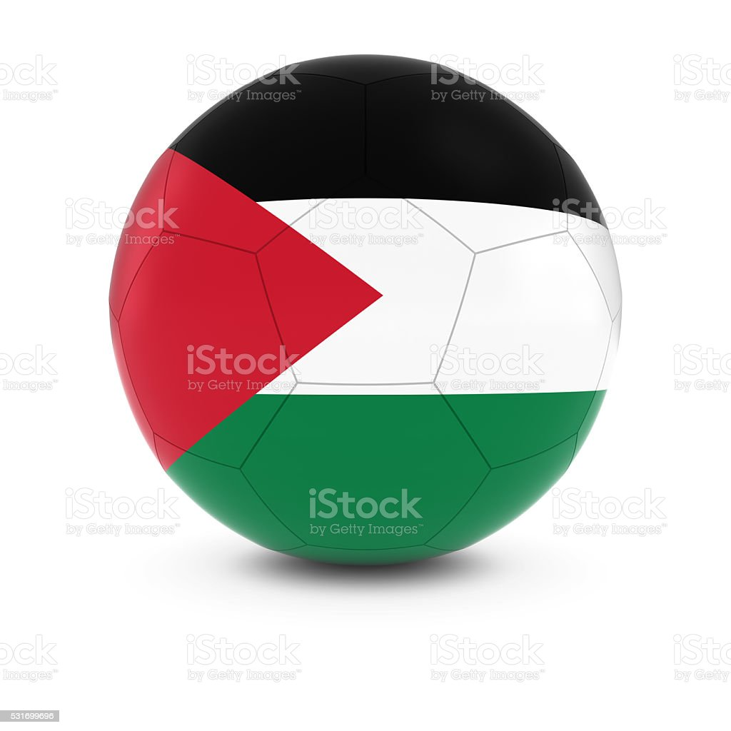 Palestine Football - Palestinian Flag on Soccer Ball stock photo