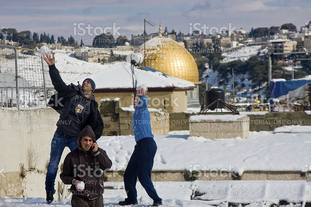 Palestine teenagers with snowballs royalty-free stock photo