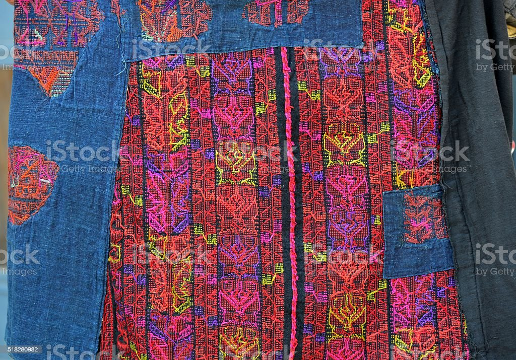 Palestinian bedouin embroidered dress - wrong side stock photo