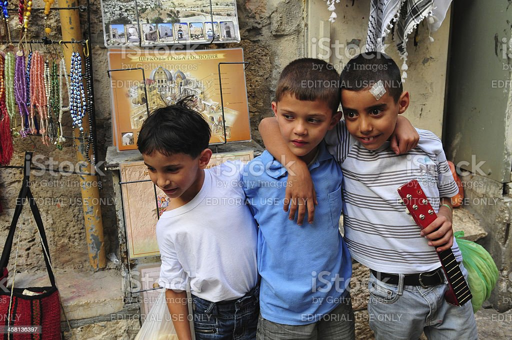 Palestinian boys in Jerusalem stock photo