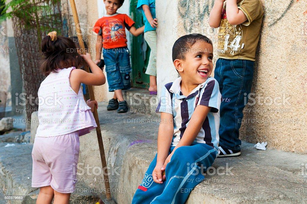 Palestinian children in Jenin refugee camp stock photo