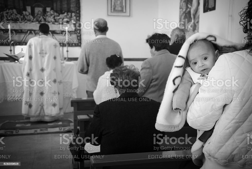 Palestinian Christians at Melkite Church in Zababdeh, West Bank stock photo