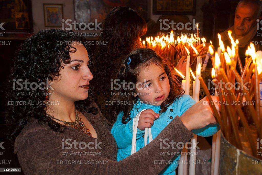 Palestinian Christians inside Church of the Nativity, Bethlehem stock photo