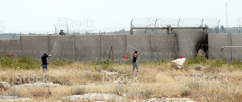Palestinian Demonstration by the Wall of Separation stock photo