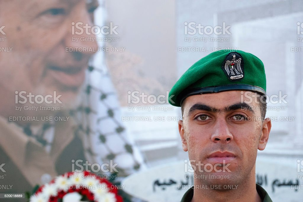Palestinian Faces - Arafat and a Presidential Guard in Ramallah stock photo
