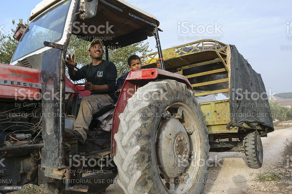 Palestinian farmers on tractor in the West Bank stock photo
