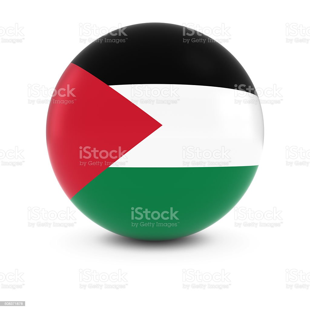 Palestinian Flag Ball - Flag of Palestine on Isolated Sphere stock photo