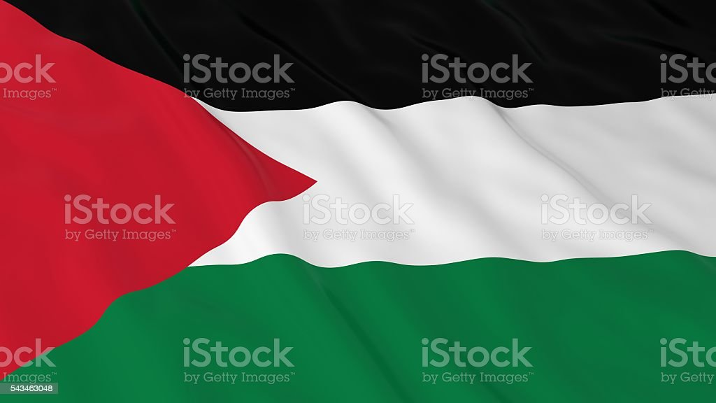 Palestinian Flag HD Background - Flag of Palestine 3D Illustration stock photo