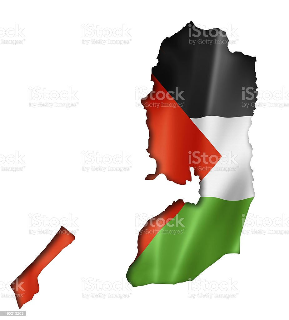 Palestinian flag map stock photo
