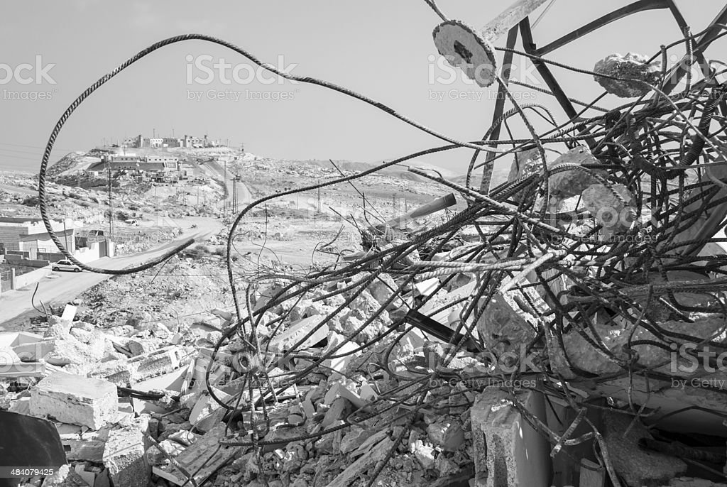 Palestinian home demolished outside Jerusalem royalty-free stock photo