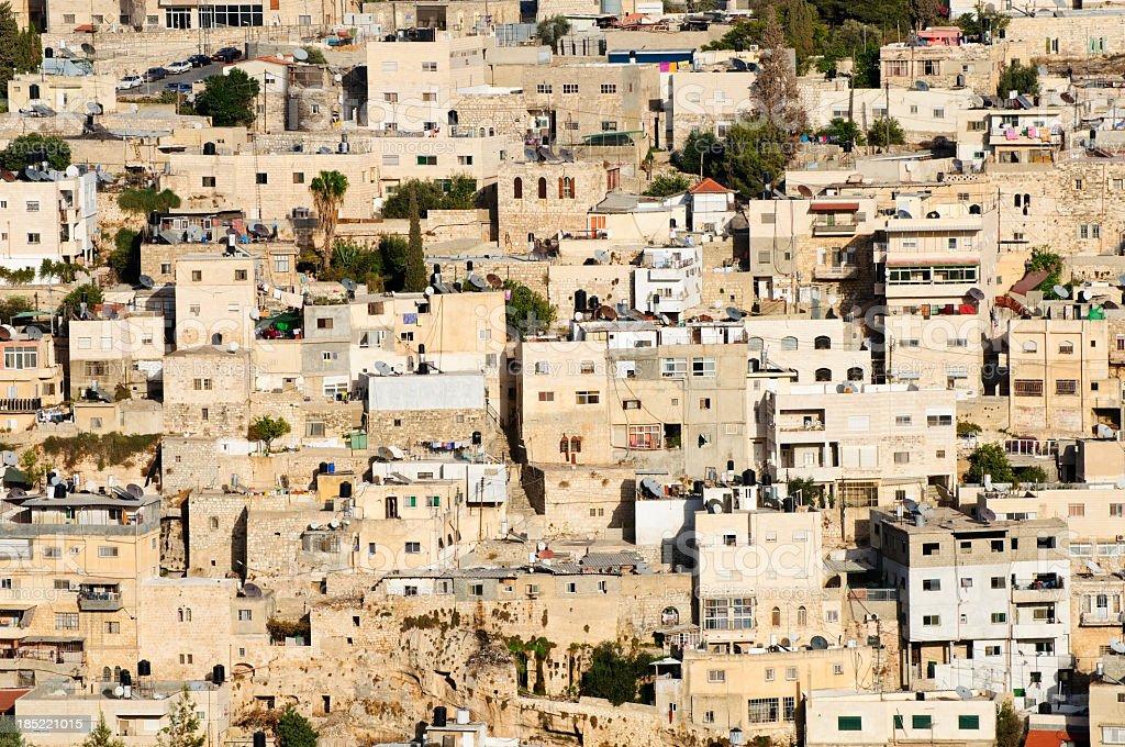 Palestinian homes in Silwan, East Jerusalem stock photo