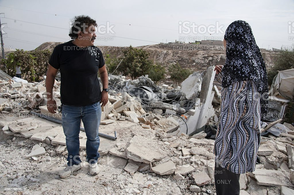 Palestinian house demolished by Israeli forces stock photo