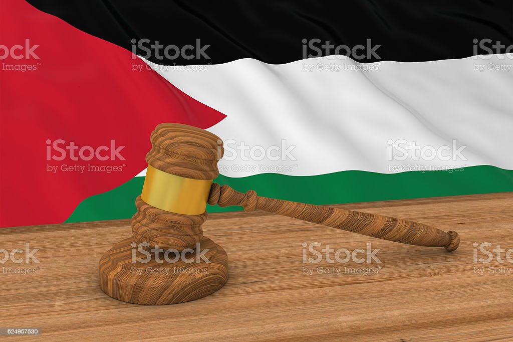 Palestinian Law Concept - Flag of Palestine Behind Judge's Gavel stock photo
