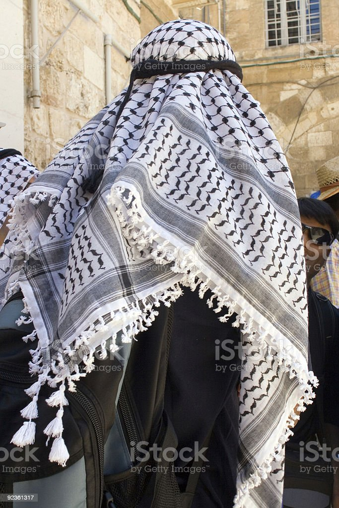 Palestinian man with keffiyeh stock photo