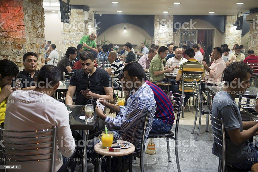 Palestinian men at cafe in Ramallah stock photo