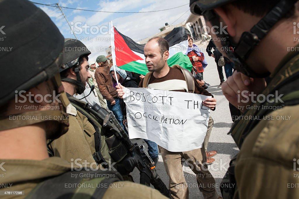 Palestinian Protest: Boycott the Occupation stock photo