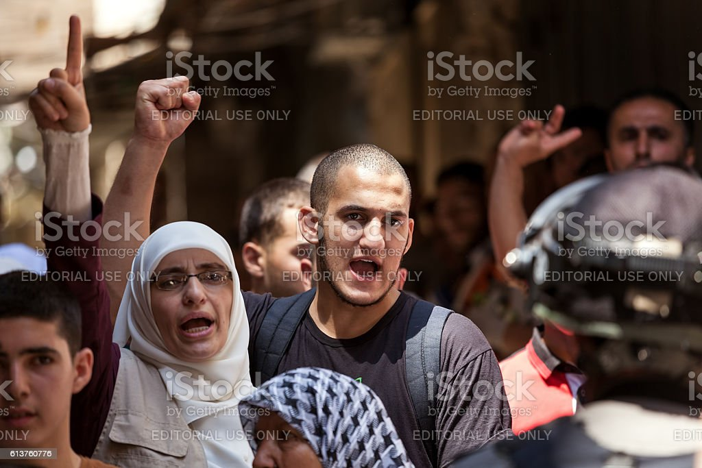 Palestinian protest in Old City of Jerusalem, Israel. stock photo
