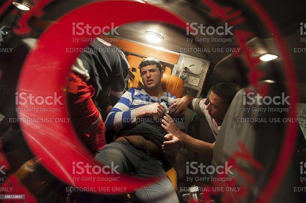 Palestinian Red Crescent ambulance stock photo