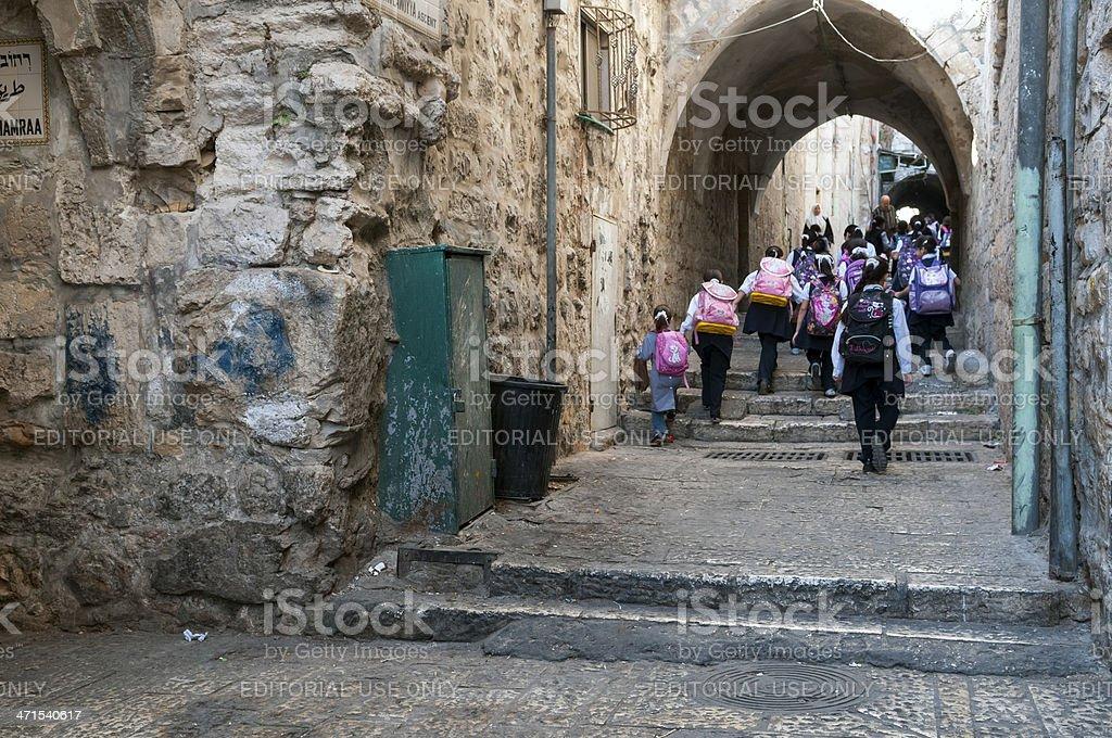 Palestinian school children in East Jerusalem royalty-free stock photo