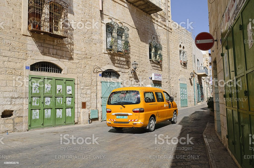 Palestinian service taxi in Bethlehem royalty-free stock photo