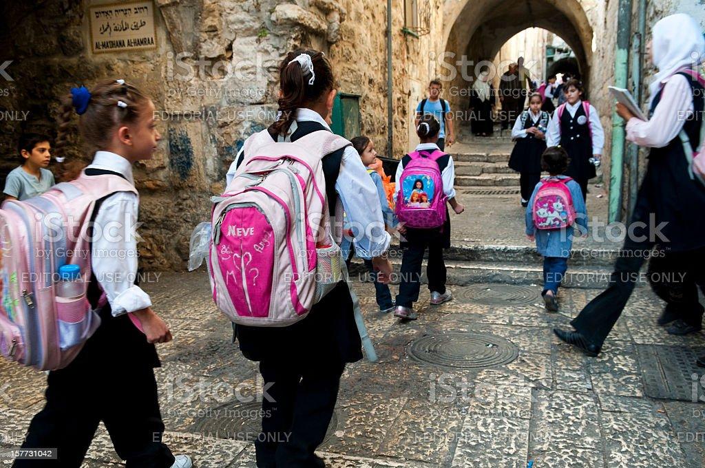 Palestinian students in Jerusalem stock photo