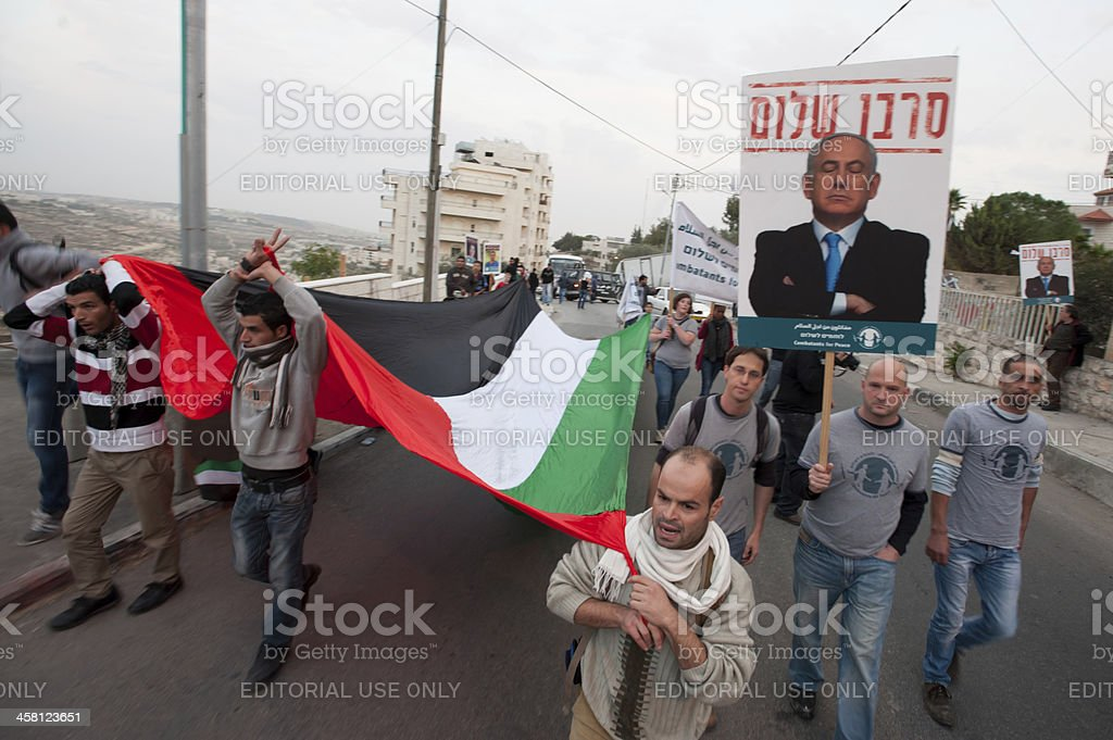 Palestinians and Israelis protest stock photo