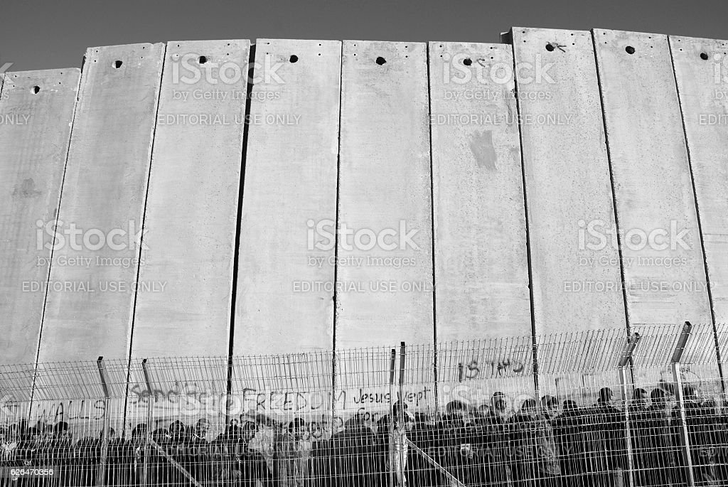 Palestinians at the Separation Wall in Bethlehem stock photo