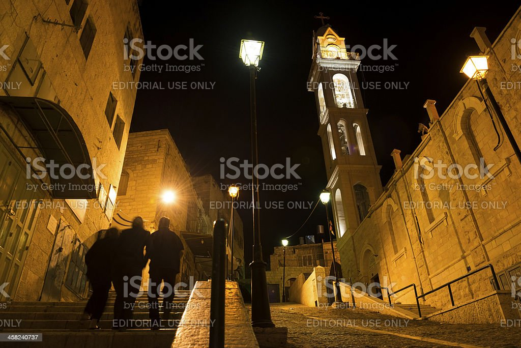 Palestinians in Bethlehem at night royalty-free stock photo