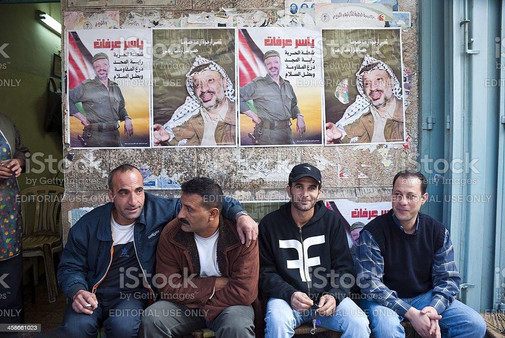 Palestinians in Ramallah stock photo