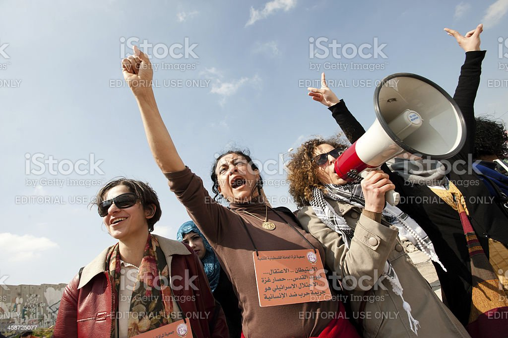 Palestinians march on International Women's Day stock photo