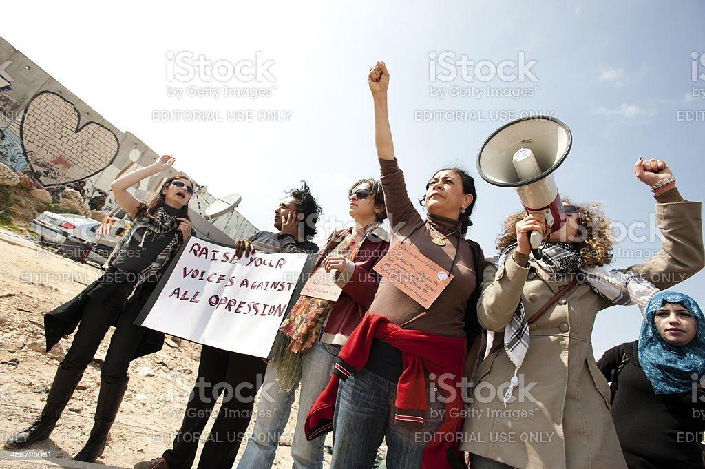 Palestinians march on International Women's Day stock photo