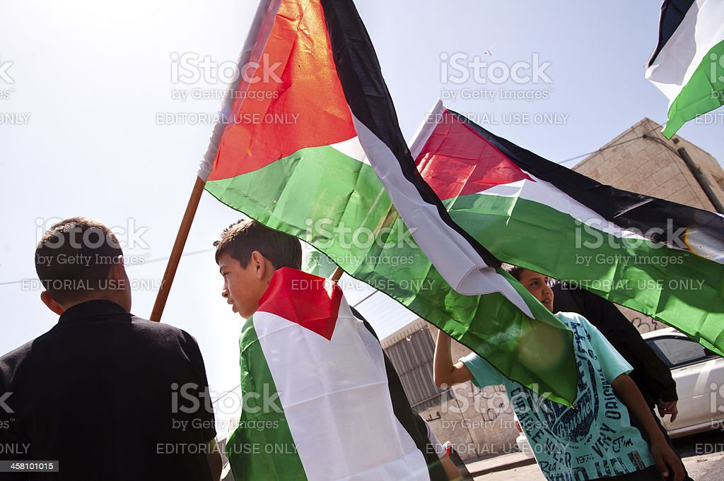 Palestinians protest East Jerusalem land confiscations stock photo